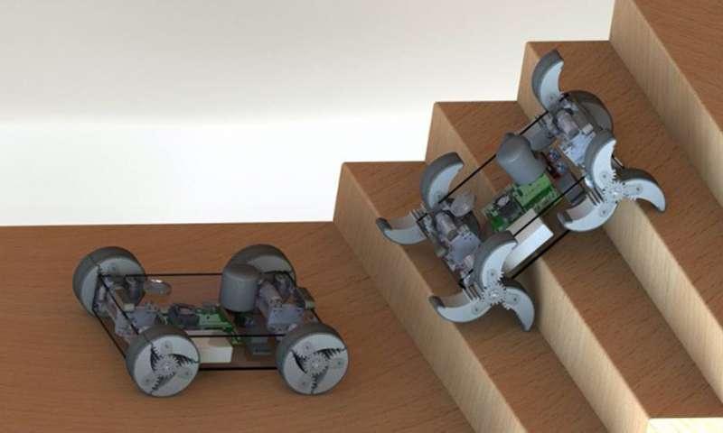 روبات هوشمندی که به تناسب جهت نوع حرکت خود را معین می نماید ، حرکت با پا یا چرخ؟