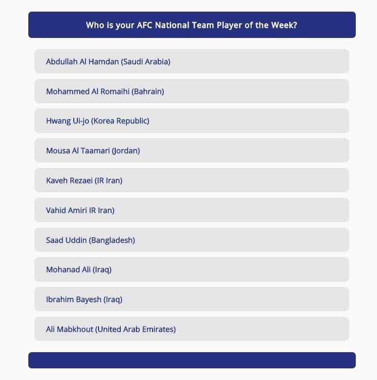 دو بازیکن ایرانی، نامزد بهترین بازیکن هفته آسیا شدند